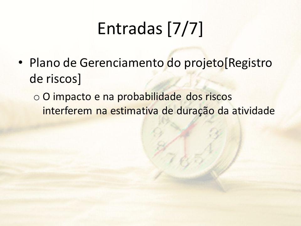 Entradas [7/7] Plano de Gerenciamento do projeto[Registro de riscos]